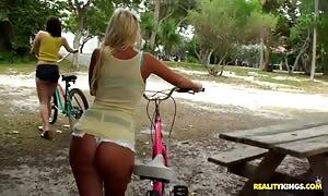 Rachel, Chloe and Molly ride bicycles and bang
