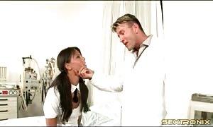 easy schoolgirl in ponytails licks her doctor