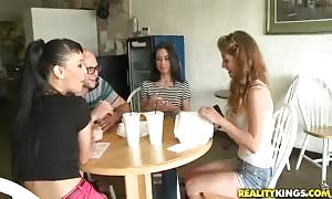 An remarkable double deepthroat rough blowjob by two horny girls in the kitchen